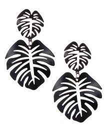Fashion Black Hollow Out Design Leaf Pattern Earrings