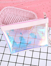Fashion Pink Transparent Decorated Cosmetic Bag