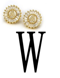 Fashion Gold Color Letter W Shape Decorated Earrings