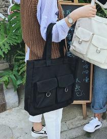 Fashion Black Pure Color Decorated Handbag