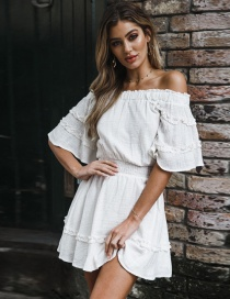 Fashion White Pure Color Decorated Off Shoulder Dress