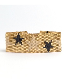 Bohemia Gold Color+black Star Pattern Design Color Matching Bracelet