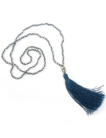 Bohemia Navy Buddha&beads Decorated Long Tassel Necklace