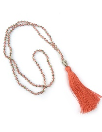Bohemia Orange Buddha&beads Decorated Long Tassel Necklace