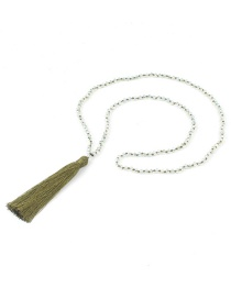 Bohemia Green Long Tassel Decorated Beads Necklace