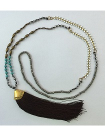 Bohemia Black Gemstone&tassel Decorated Long Necklace
