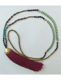 Bohemia Red Gemstone&tassel Decorated Long Necklace