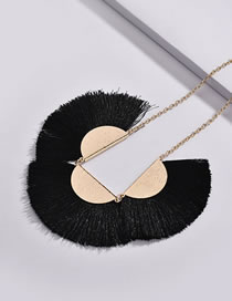 Fashion Black Sector Shape Decorated Necklace