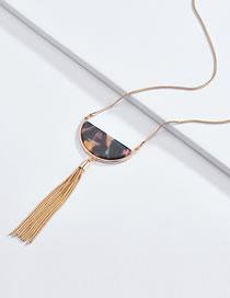 Fashion Black Semicircle Shape Decorated Tassel Necklace