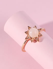 Fashion Light Pink Star Shape Decorated Ring