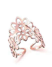Fashion Rose Gold Hollow Out Design Pure Color Opening Ring