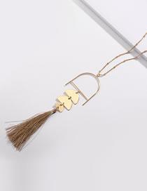 Fashion Khaki Tassel Decorated Necklace