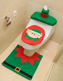 Fashion Red+green Elf Pattern Decorated Toilet Seat Cover