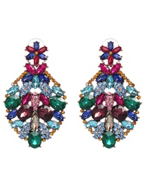 Fashion Multi-color Full Diamond Decorated Earrings