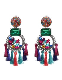 Fashion Multi-color Geometric Shape Decorated Tassel Earrings