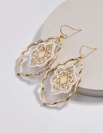 Fashion Gold Color Hollow Out Design Flower Shape Earrings
