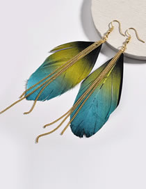 Fashion Multi-color Feather Decorated Tassel Earrings