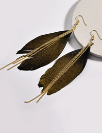 Fashion Gold Color Feather Decorated Tassel Earrings