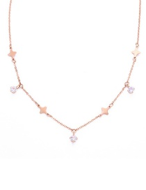 Fashion Rose Gold Star Shape Decorated Necklace