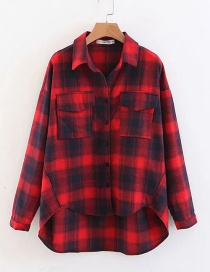 Fashion Red Grids Pattern Decorated Shirt
