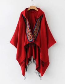 Fashion Red Tassel Decorated Cloak