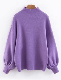 Fashion Purple Pure Color Decorated Sweater
