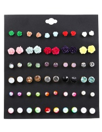 Fashion Multi-color Flower Shape Decorated Earrings (60 Pcs )