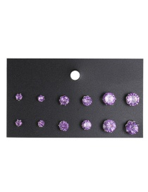 Fashion Purple Diamond Decorated Earrings (12 Pcs )