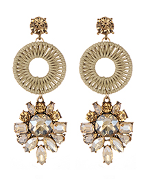 Fashion Champagne Geometric Shape Decorated Earrings