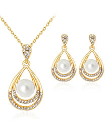 Fashion Gold Color Waterdrop Shape Decorated Jewelry Set