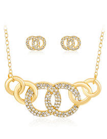 Fashion Gold Color Round Shape Decorated Jewelry Set