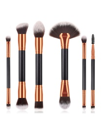 Fashion Black Flame Shape Decorated Makeup Brush(6pcs)