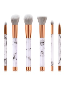 Fashion White Round Shape Decorated Makeup Brush(6pcs)