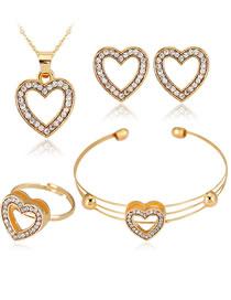 Fashion Gold Color Heart Shape Decorated Jewelry Set (5 Pcs )