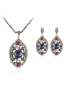 Vintage Blue Diamond Decorated Hollow Out Jewelry Set (3 Pcs )