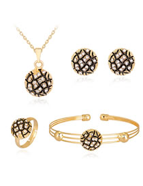 Fashion Gold Color+black Diamond Decorated Jewelry Set (5 Pcs )