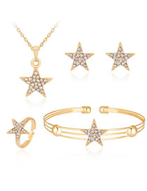 Fashion Gold Color Star Shape Decorated Jewelry Set (5 Pcs )