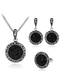 Fashion Black Round Shape Decorated Jewelry Set (4 Pcs )