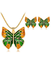 Fashion Gold Color+green Butterfly Shape Decorated Jewelry Set (3 Pcs )