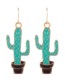 Fashion Light Green Cactus Shape Decorated Earrings