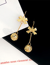 Simple Gold Color Bowknot Shape Decorated Hollow Out Earrings