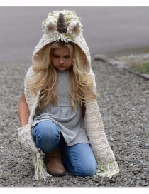 Fashion Beige Unicorn Shape Decorated Hat