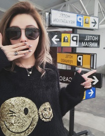 Fashion Black Smile Face Pattern Decorated Sweater