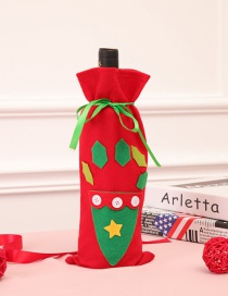Fashion Red Star Pattern Decorated Christmas Bottle Cover