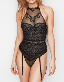 Sexy Black Lace Decorated Hollow Out Jumpsuit