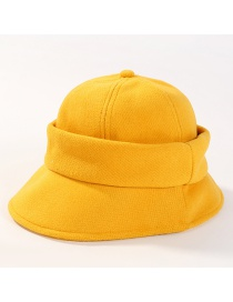 Fashion Yellow Pure Color Decorated Fisherman Hat