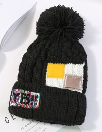 Fashion Black Sequins&fuzzy Ball Decorated Knitted Hat