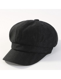 Fashion Black Pure Color Decorated Octagonal Cap