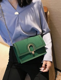 Fashion Green Buckle Decorated Pure Color Shoulder Bag