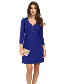 Fashion Blue Buttons Decorated V Neckline Dress